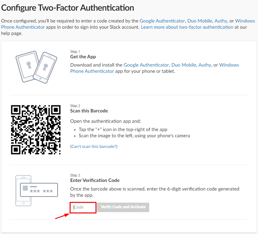 How to Enable Slack 2FA with Protectimus Slim NFC - QR code