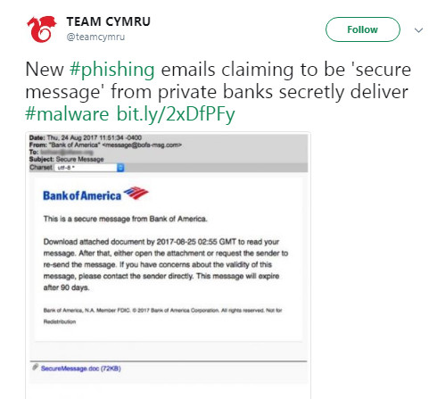 Bank of America phishing scam example