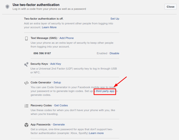 How to Enable Facebook 2FA with Protectimus Slim NFC