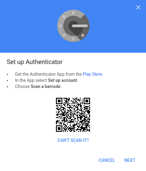 Google Authenticator QR code
