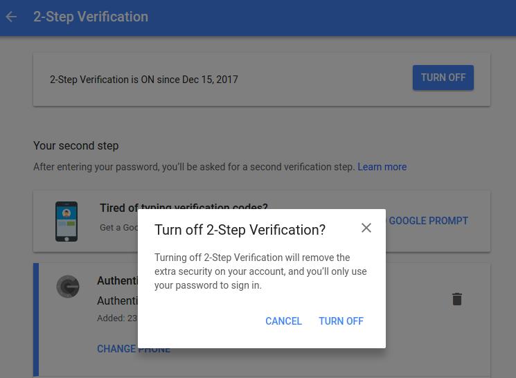 Google Authenticator Turn Off function