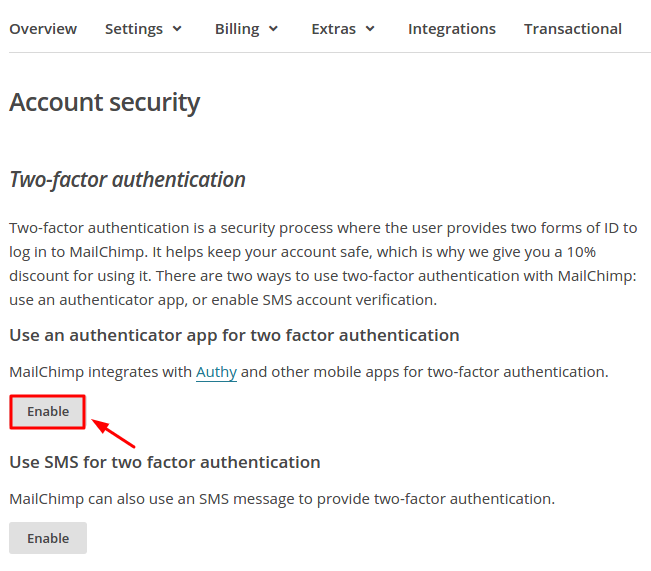 How to Enable MailChimp 2FA with Protectimus Slim NFC
