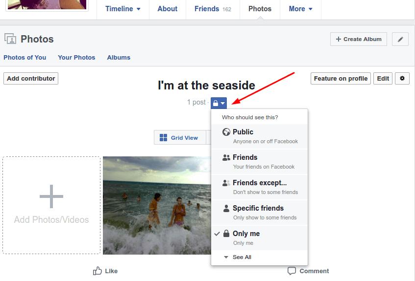 Facebook photo album privacy settings