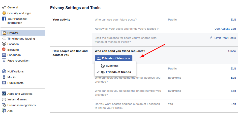 How to limit who can send me friend requests on Facebook