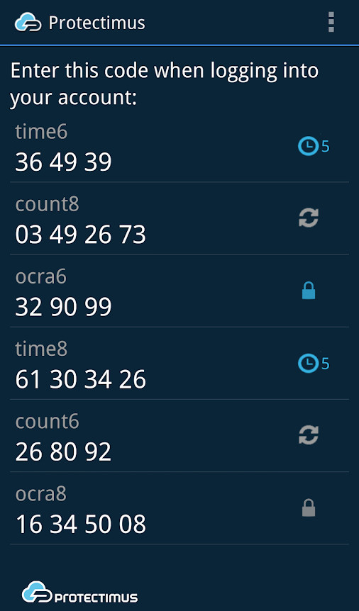 Instagram two-factor authentication app Protectimus SMART