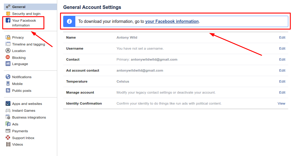 How to download your Facebook information