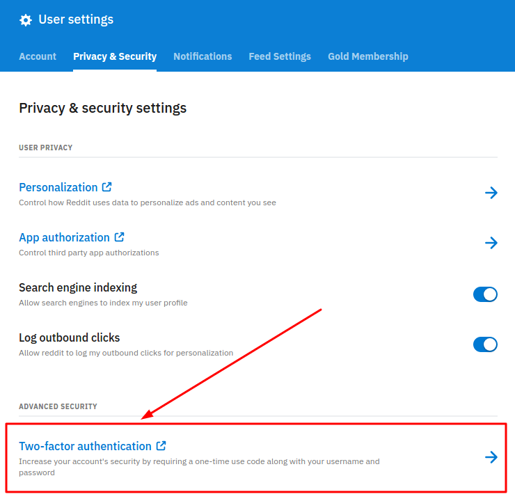 2FA on Reddit - two-factor authentication button