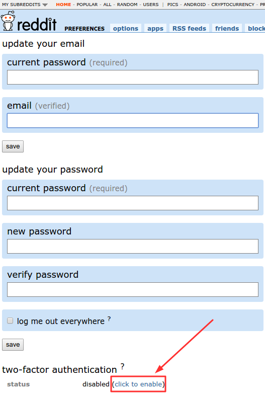 2FA on Reddit - enable two-factor authentication button