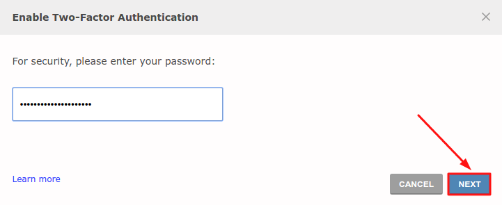 Two-factor authentication - confirm password