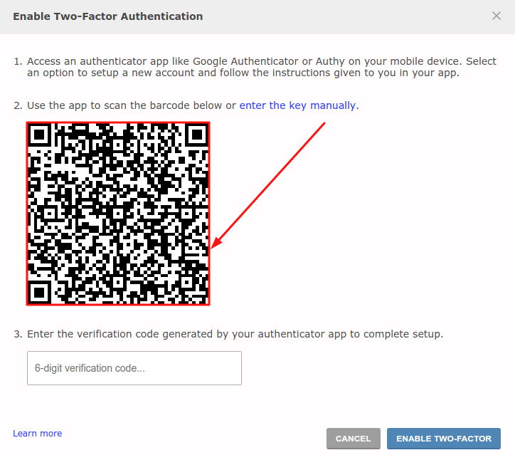 How to enable 2FA on Reddit - QR code