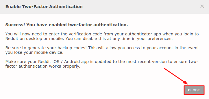 Enable two-factor authentication on Reddit