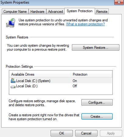Windows Computer Safety Tips - Create a restore point