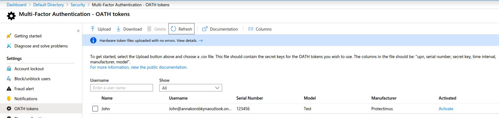 Azure Multi Factor authentication Oath hardware tokens setup