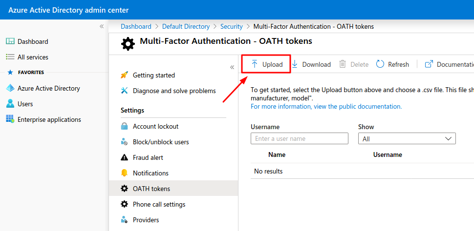 Azure two-factor authentication hardware tokens setup