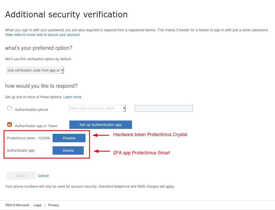 How to set 2 two-factor authenticatication methods in Azure - 2FA app and OATH token