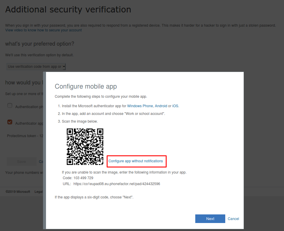 How to configure 2FA app withoun notifications
