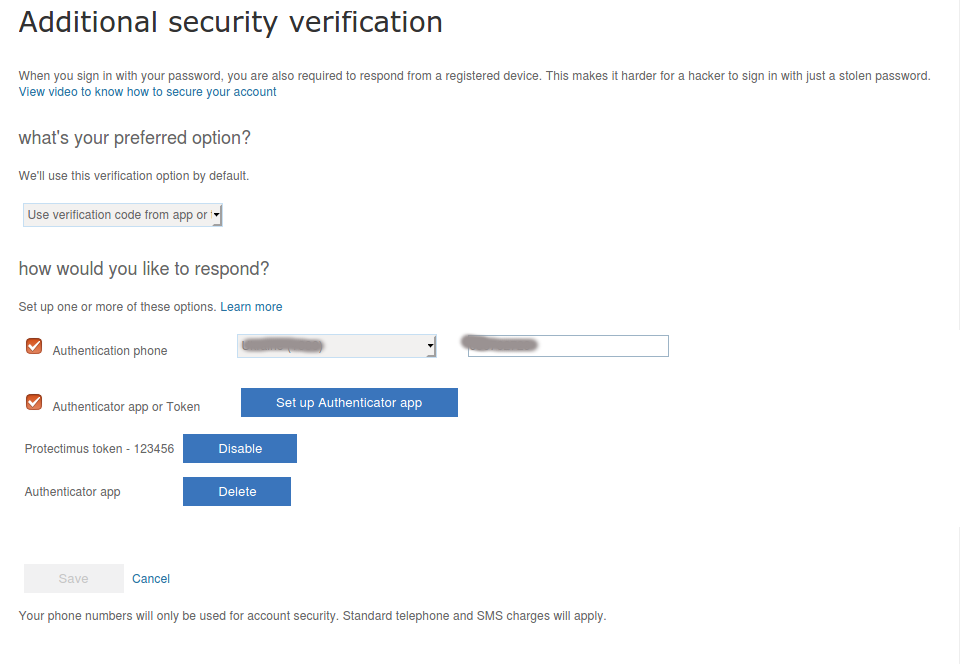 How to set 3 two-factor authenticatication methods in Azure - SMS authentication, 2FA app and OATH token