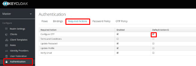 Keycloak multi-factor authentication configuration - enforcing new users
