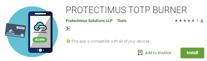 Keycloak multi-factor authentication with hardware token: set up Protectimus Slim NFC - download Protectimus TOTP Burner