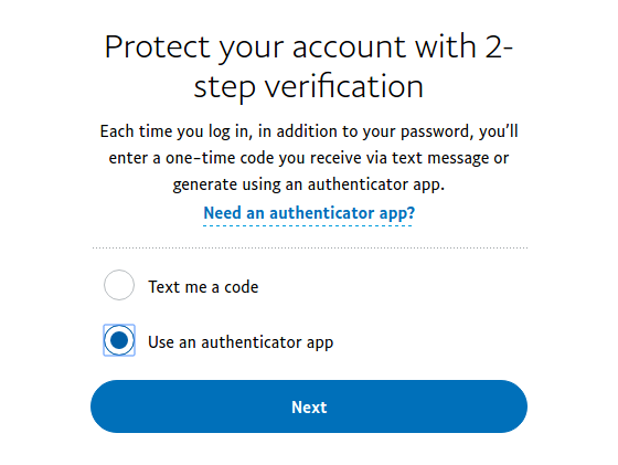 Choose PayPal 2FA method - SMS or 2FA app