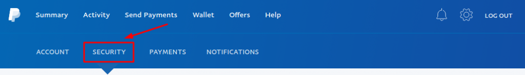 PayPal account settings - security