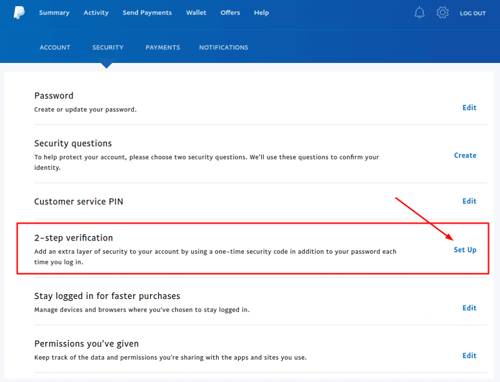 PayPal 2-step verification set up settings