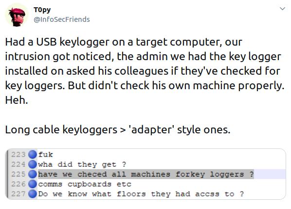 Keylogging attack example