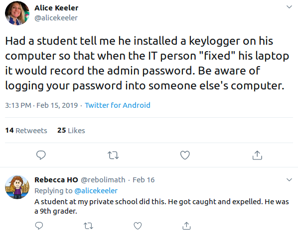 Keylogger spread example