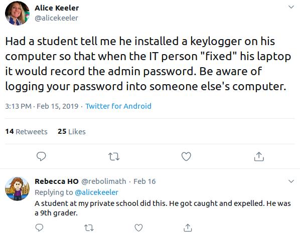 Keylogger spread example