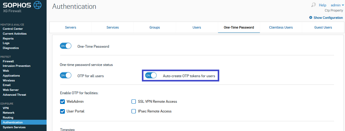 Sophos OTP with hardware tokens Protectimus Slim NFC - Step 2