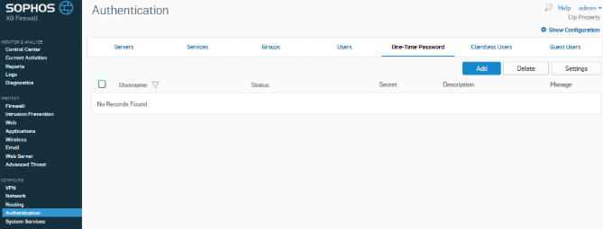Sophos MFA with classic TOTP hardware tokens - step 2