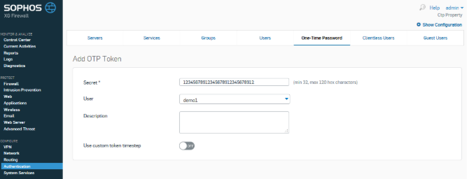 Sophos 2FA with classic TOTP hardware tokens - step 3