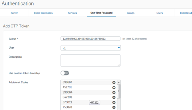 Sophos OTP with classic TOTP hardware tokens - backup codes