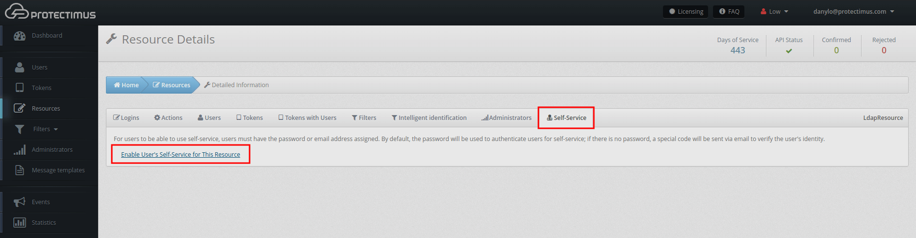 Active Directory Two-factor Authentication setup with Protectimus DSPA - Activate self-service