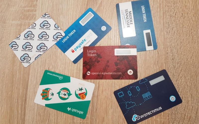 Прошиваемые токены Protectimus Slim NFC брендированные для разных клиентов
