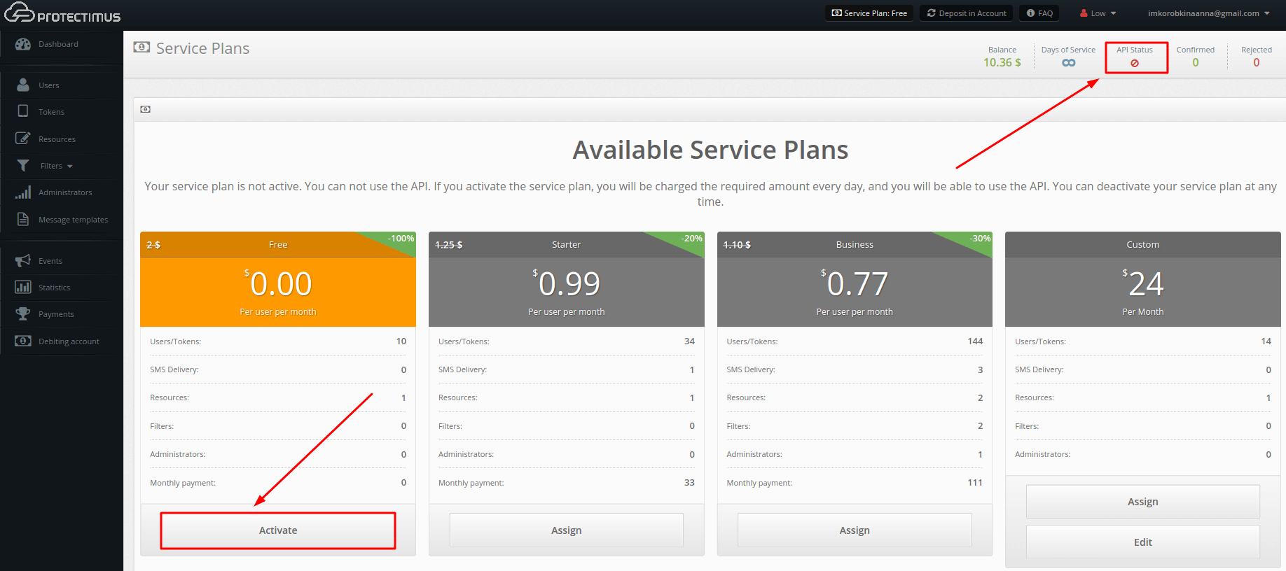 Activate a service plan in Protectimus SaaS service
