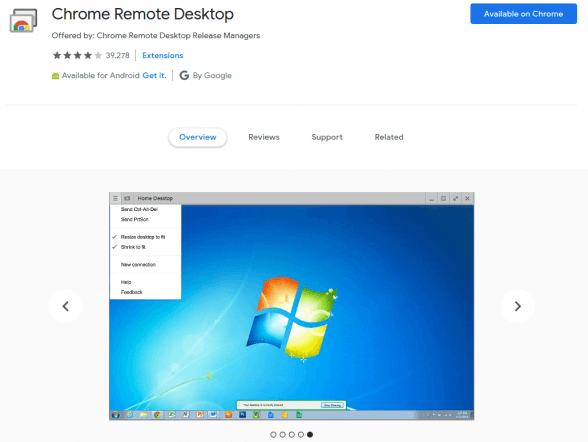Remote work via Chrome Remote Desktop