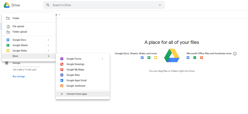 Google Drive - cloud service for remote work