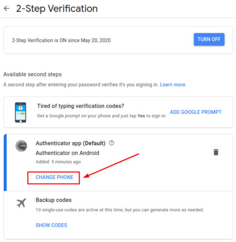 How to transfer Google Authenticator to a new iPhone - change phone button