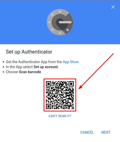 QR code with the secret key
