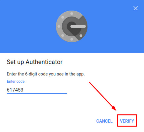Enter the one-time password from Google Authenticator