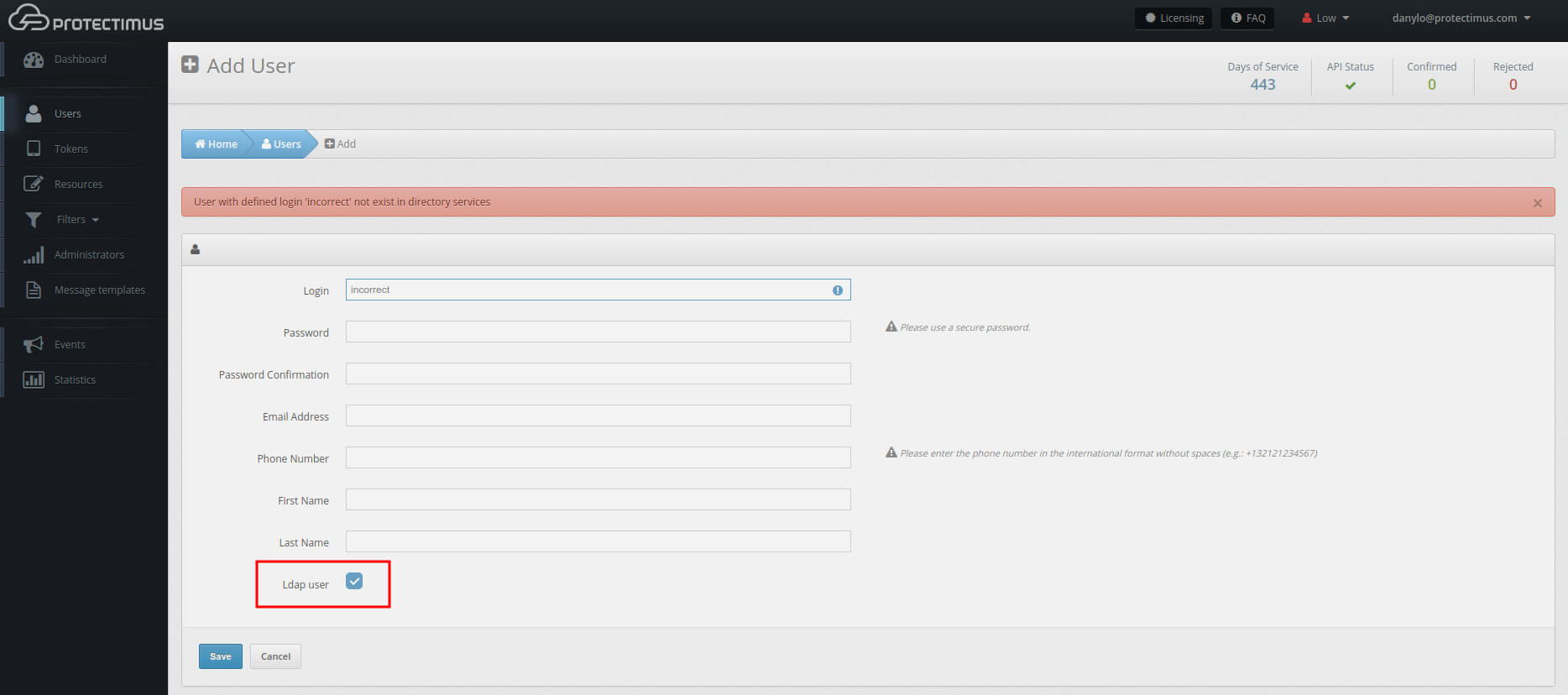 OWA two-factor authentication setup Protectimus DSPA - add user