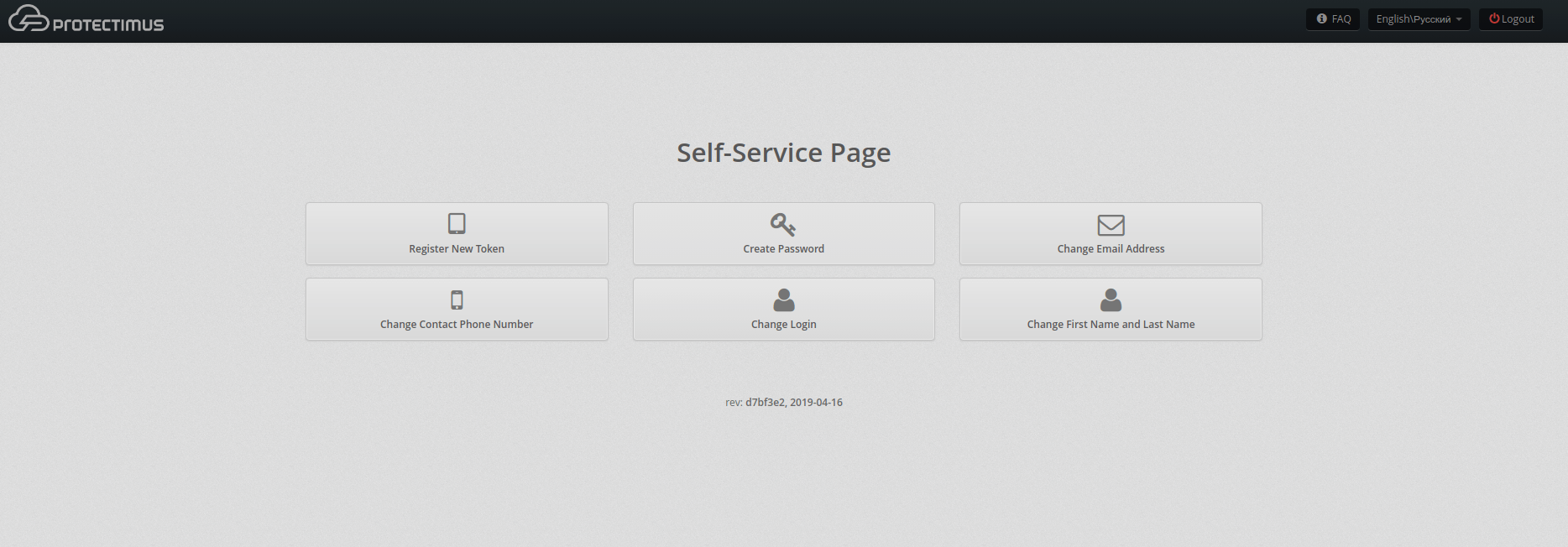 OWA two-factor authentication setup Protectimus DSPA - self-service page