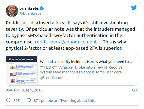 SMS authentication vulnarability leads to Reddit hack