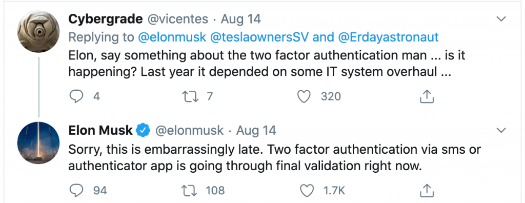Elon Musk announces Tesla app two-factor authentication