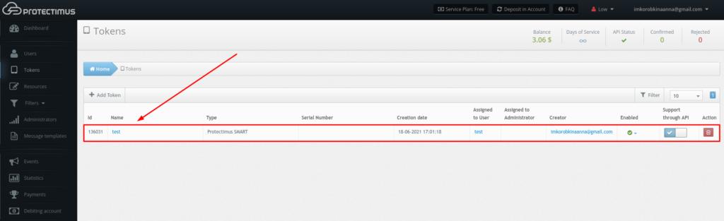 OTP token created using Protectimus Self-Service Portal