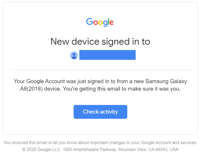 """Google """"new device signed in to"""" alert"""